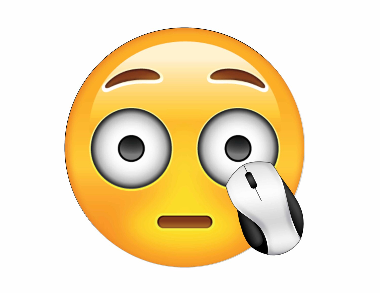 Emoji surpris tapis de souris rond - Tapis de souris rond personnalise ...