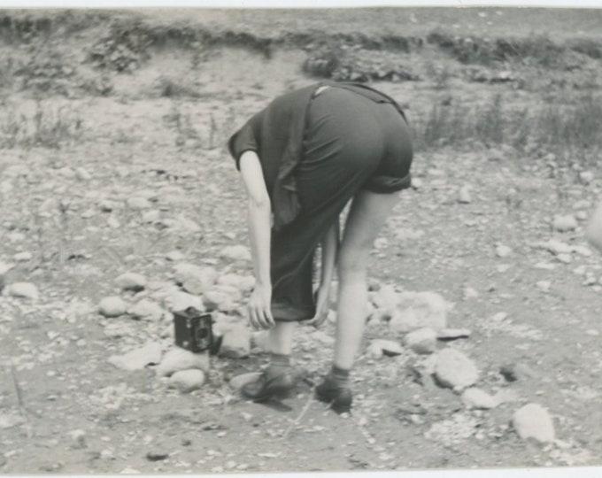 Vintage Snapshot Photo, 1942: Rolling Up Her Pants [84665]