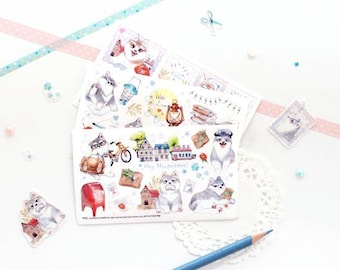 Little Husky Stickers Set, Husky Stickers Set, Husky Stickers, Korean Stickers, Transparent Stickers