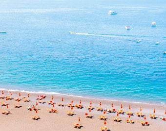 Italy Photography, Summer in Positano, Amalfi Coast, Italy, beach photography,Italian home decor, Positano Art, bedroom art, beach umbrellas