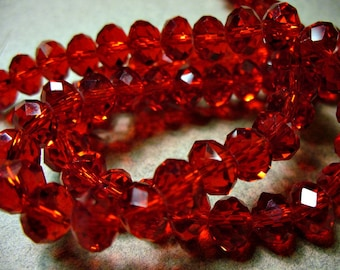 Crystal Beads Faceted Red  Rondelles 8x5mm
