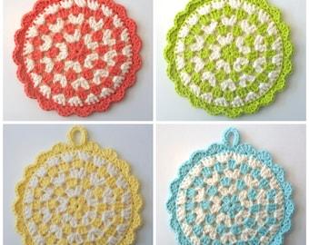 Pot Holder, Crochet Pot Holder, Cotton Pot Holder, Kitchen Decor, Hot Pad, Crochet Hot Pad, Granny Square Pot Holder,Green Pot Holder,Trivet