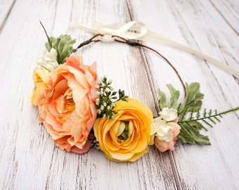 Flower Crown - Coral peach yellow - Well Dressed Wolf - Boutique - Photo prop - Floral Halo - Flower Headband - Wedding