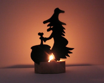 Witch and Caldron, Halloween Candle Holder, Halloween Witch Candle Holder, Wooden Cutout Nightlight, Spooky Black Halloween Decor