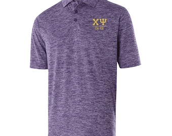 Chi Psi Greek Letter Electrify Polo (light gold text)