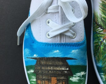 Hand painted, Shoes, custom shoes, Acrylic, Wearable Art, Art, Hand Painted Shoes, Fiji, Island, Painting