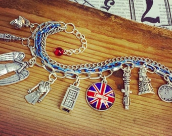 Dr Who, Bracelet Charm, Tardis, Weeping Angle, London, Dalek and more Charm bracelet.
