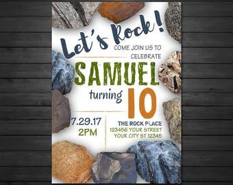 Rocks Geology Birthday Invitations, Digital File, Geology Birthday Invitation, Mining Invitation