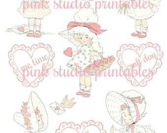 Little Sweeties 02, printable planner sticker sheet, vintage style, vintage ephemera