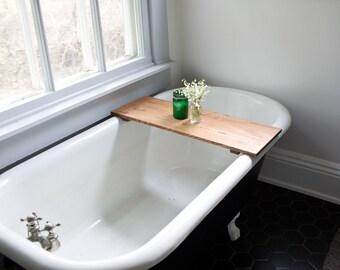Oak Bathtub Tray Caddy - Wooden Bath Tub Caddy Wood Bathtub Shelf Computer Desk Gaming Board Tray Handmade