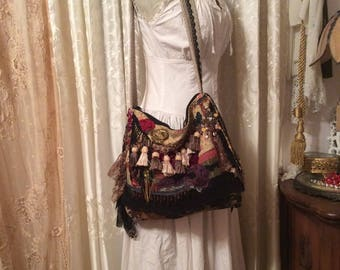 Fringed Bohemian Bag, handmade slouchy fabric purse, black lace, beads buttons embellished, OOAK black gypsy bag