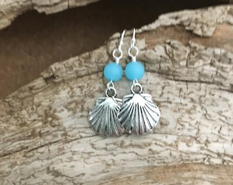 BEACH EARRINGS, Shell-Aqua Sea Glass, Antique Silver Scallop Shell Charm, 6mm Aqua Blue Recycled Sea Glass Beads, Sterling Silver Ear wires