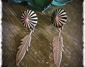 Long! Vincent Platero Concho Feather Dangle Earrings Sterling Silver with Post for Pierced Ears Vincent Platero