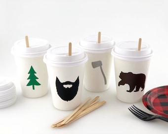 Lumberjack Hot Cups - Lumberjack First Birthday, Lumberjack Party Cups, Lumberjack Party Supplies, Camping Birthday, Woodland Party Supplies
