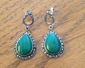 Malachite and Marcasite Sterling Silver Drop Earrings