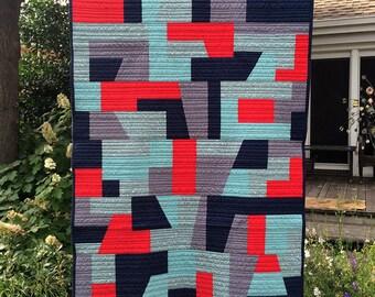 Handmade Modern Throw Quilt - Red, Navy, Gray, Sage 100% Cotton Fabrics