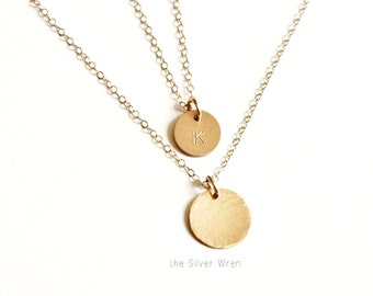The Silver Wren, Layered Necklace Set 2, Layering Necklace SILVER, ROSE or GOLD Necklace, Hammered & Initial Necklace, Minimalist Necklace