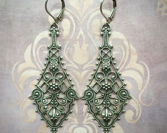Sterling Silver Earrings - Filigree Earrings - Filigree Jewelry - Long Dangle Earrings - Drop Earrings - Romantic Jewelry - Vintage Style