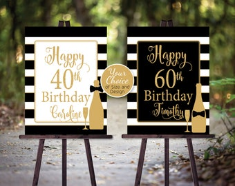 Black Tie 40th 50th 60th Birthday Party Sign | Printable | Any Age | Gold | Bowtie and Bottle | Personalized | DIGITAL PRINTABLE FILES