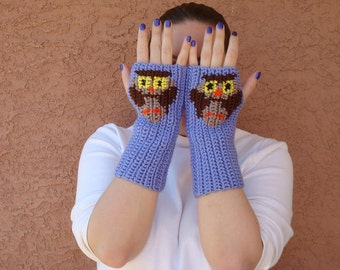 Owl Fingerless Gloves - Lavender Blue Fingerless Gloves - Purple Crochet Fingergless Gloves, Arm Warmers,  Animal MADE TO ORDER