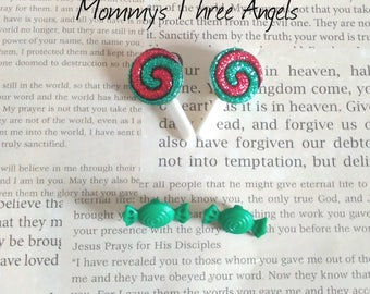 Christmas Lollipop Stud Earring Set/Green and Red Glitter Christmas Lollipop Candy Stud Earrings/Mommy and Me Studs (Set of 2) READY TO SHIP
