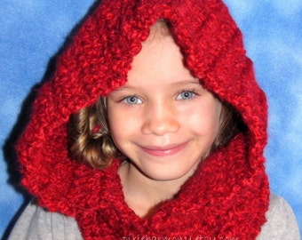 Toddler Child Women SCOODIE - Red or Virtually Any Color - Hat - Cowl - Winter - Crochet