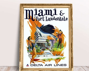"""Vintage Miami & Fort Lauderdale Poster 1974 Delta Air Lines by Sweney Florida State Art Print 13"""" x 16"""" Size Miami Travel Wall Art SKU:Z3290"""