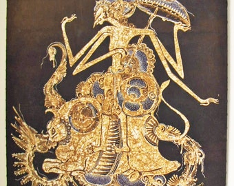 Indonesian Batik panel of the Hindu God Shiva - Huge 1970s signed and dated