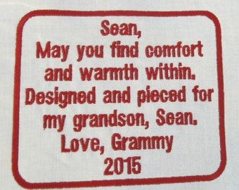 Embroidered Personalized Label for Quilt