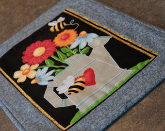 Blue Flowers Bumblebees 19 1/2  X 13 1/2 Table Runner Topper