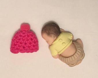 Polymer clay baby crochet wool hat