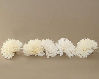 5 Small Cream Mums - Artificial Flowers, Silk Flower Heads