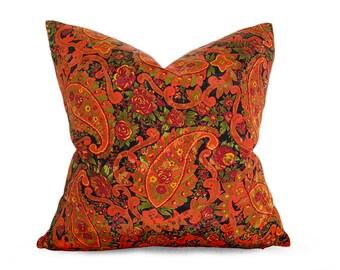 Orange Boho Pillow, Bohemian Pillow Cover, Boho Throw Pillow, Bohemian Cushion, Retro Paisley Pillow, Orange Gold Pillow, 18x18, 20x20
