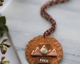 Travel Jewelry Mountains Necklace Free Copper Gold Sun Sunrise Encouragement Gift Metal Stamped Inspirational Bohemian Womens Jewelry