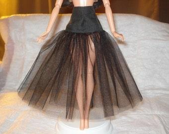 Fashion Doll Coordinates - Long black cotton drop waist Tulle net under skirt - LSB