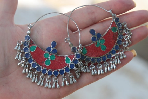 AFGHANI EARRINGS - Turquoise & Coral - Vintage - Handmade - Bespoke - Kuchi - Mosaic - Gypsy - One of a Kind - Statement - Festival - Indian