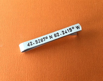GPS Coordinates Hand Stamped Tie Clip, Aluminum Tie Bar, Personalized Gift, Custom Gift, Latitude Longitude, Long Distance Relationship Gift