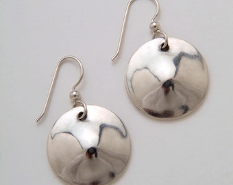 Silver Circle Earrings made from Vintage US Silver Standing Liberty Quarters