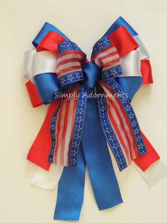 Red White Blue Gift Bow Patriotic Decor Gifts Bow Fourth of July Bow Independence Day Bow Election Day Bow Veterans Day Military Bow