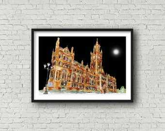 Manchester Town Hall - Manchester Print - A Town Hall  Manchester - Manchester Gift - Original Image