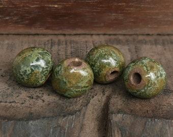Ceramic Stoneware Round Beads Moss Green Mix Handmade Pottery Beads