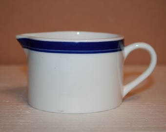S4 Crate and Barrel Creamer Navy Blue Band Ring Syrup Small Gravy