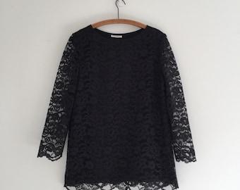 Vintage Black Lace Tunic Long Sleeve Blouse L