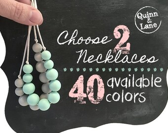 Choose 2 Silicone Teething Necklaces - Bite Beads Nursing Necklace Jewelry - Teether Chewing Beads - Chew Jewelry Beads  - Simple Beauties