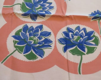 Vintage Tablecloth  Pink & Blue Lotus Water Lily Floral