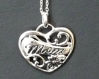 Sterling Silver Necklace With Heart Shaped Mom Pendant 925 - Sterling Silver Pendant With Silver Necklace 925