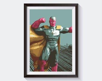 Vision Original Art, Marvel Studios Poster Print Wall Art, Digital Download High Quality Poster For Wall Decor