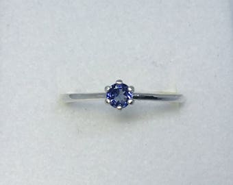 Tanzanite Ring, .165 Carats, 4mm Round, Sterling Silver, Size 7