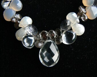 Shades of Gray sterling and briolette gemstone necklace