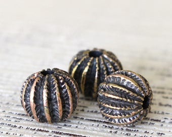Mykonos Antiqued Brass Beads - Sea Urchin Beads For Jewelry Making Supply - 13x11mm -  Choose Amount
